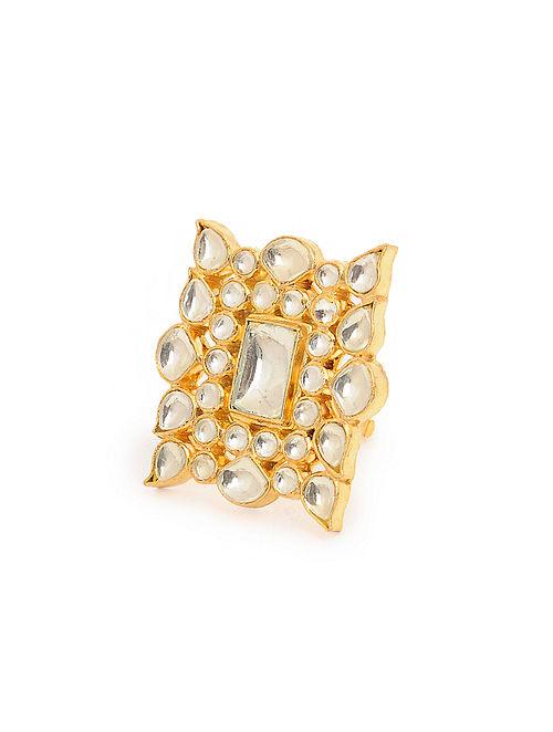 Gold Tone Kundan Inspired Adjustable Brass Ring
