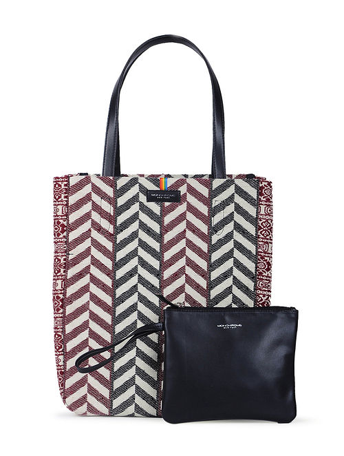Red-Black Handcrafted Cotton Jacquard Tote with Detachable Pouch