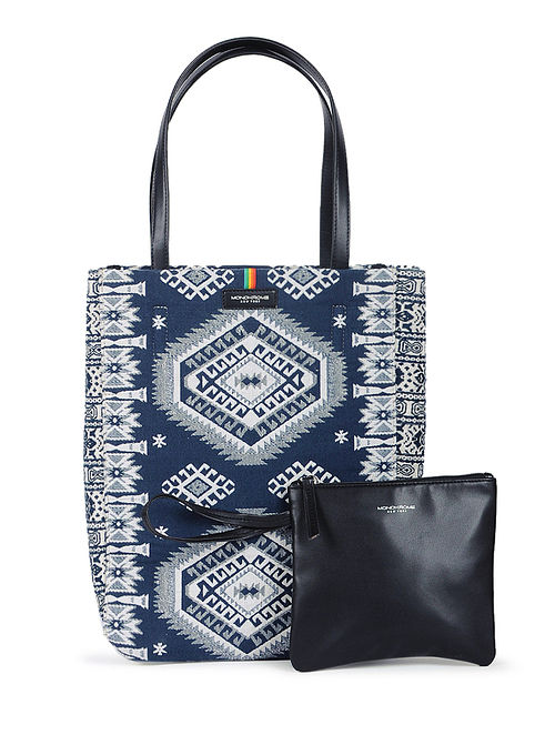 Indigo-Ivory Handcrafted Cotton Jacquard Tote with Detachable Pouch