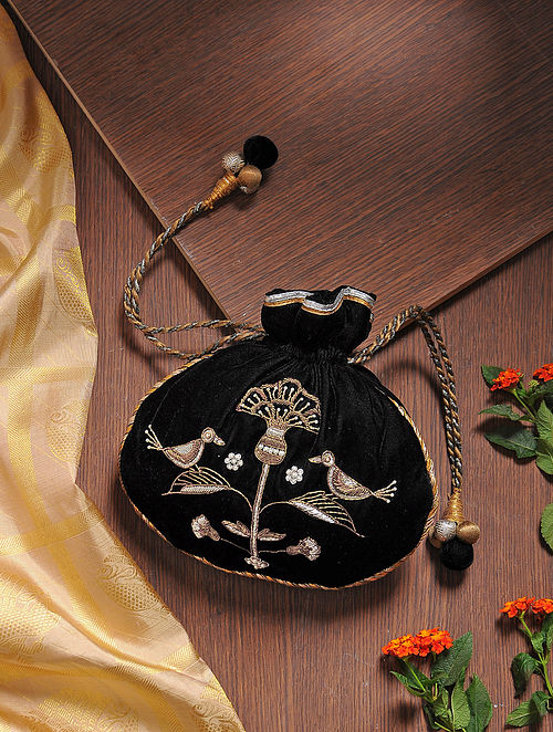 Black Embroidered Micro Velvet Potli