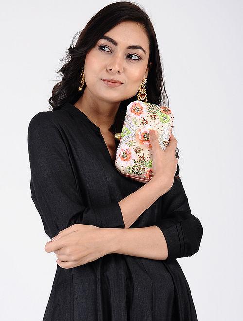 Beige-Multicolored Handcrafted Cotton Clutch