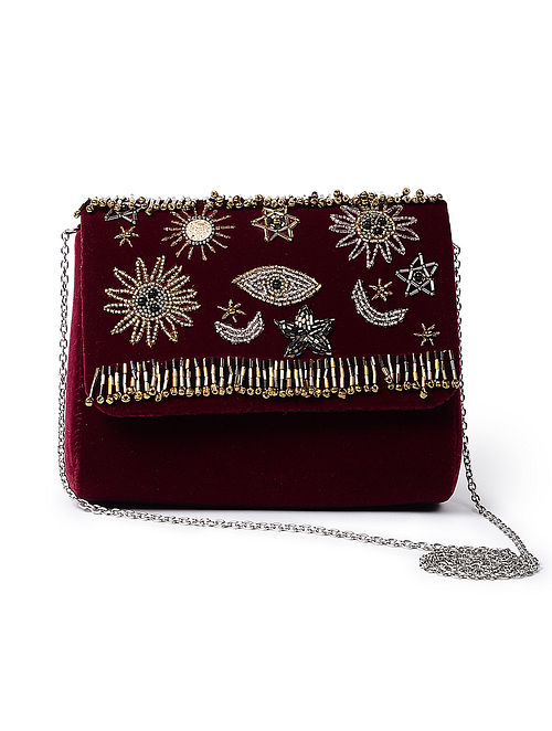 Maroon-Golden Handcrafted Velvet Sling Bag