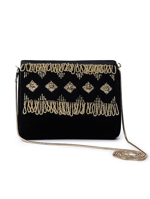 Black-Golden Handcrafted Velvet Sling Bag