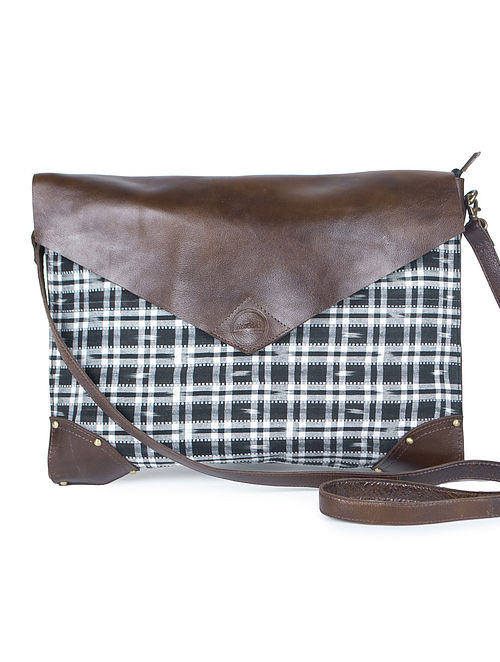 Multicolor Sanganeri Printed Cotton-Leather 17 Laptop Bag -L