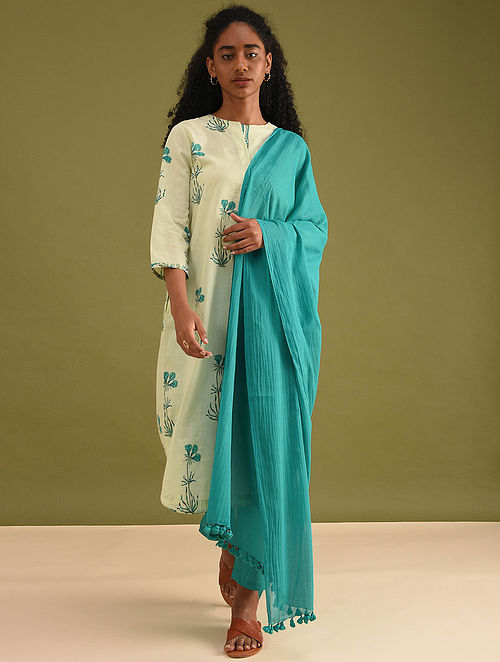 Teal Handloom Cotton Dupatta with Tassels