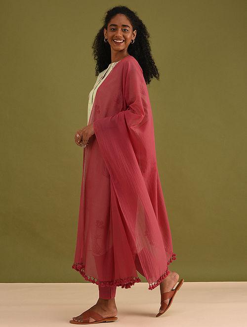 Red Handloom Cotton Dupatta with Tassels