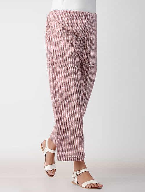 Pink-White Tie-up Waist Cotton Pants