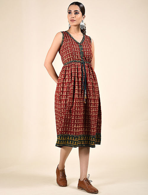 Red Block Printed Cotton Dress