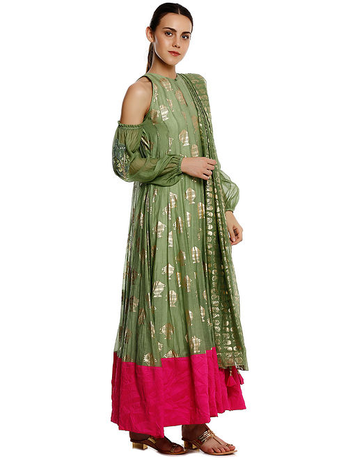 0c313bcf46 Green Printed Chanderi Silk Anarkali with Churidar and Dupatta (Set of 3)