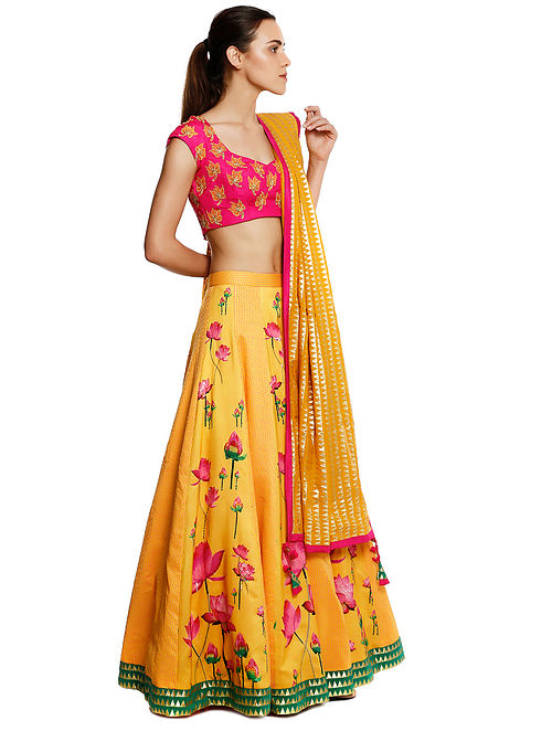 48a9c89d4279f Yellow-Pink Embroidered Silk-Chanderi Lehenga with Blouse and Dupatta (Set  of 3)