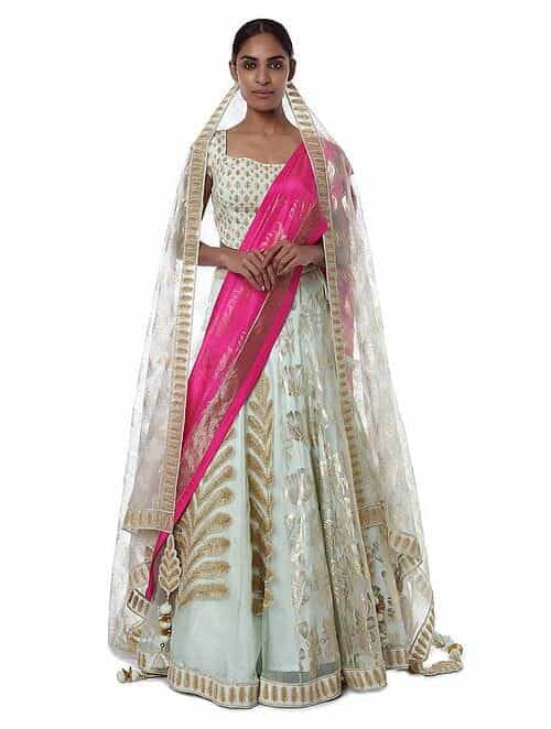6f1ff2678a Ivory-Pink Embroidered Silk Lehenga with Blouse and Dupatta (Set of 3)