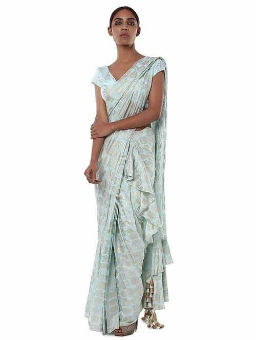 52226dd07b Buy Blue Crepe Saree with Blouse Piece (Set of 2) Online at Jaypore ...