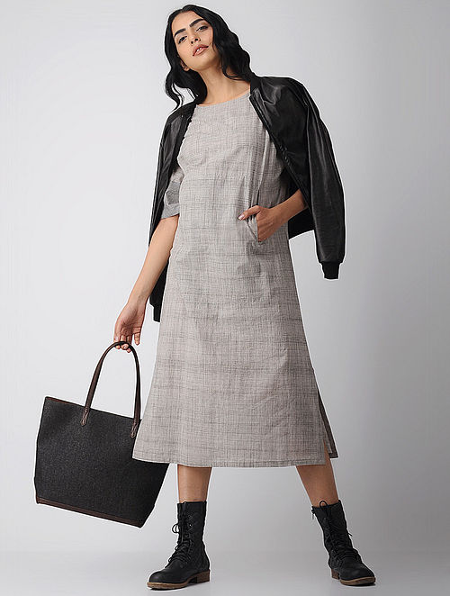 Grey Cotton Dress with Pockets