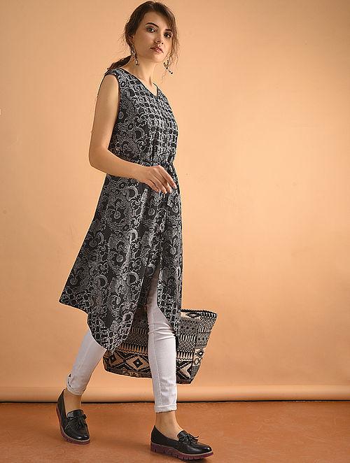 Black Printed Cotton Kurta with Tie-up-XS