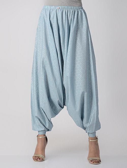 Blue Elasticated-waist Khari-printed Cotton Afghan Pants