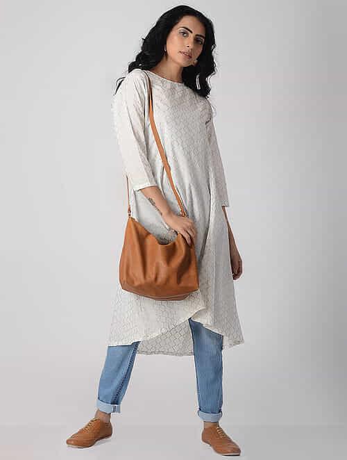 White Khari-printed Cotton Kurta