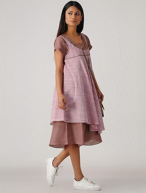 Purple Handloom Cotton Flared Dress (Set of 2)