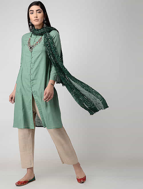 Green Front-open Cotton Slub Kurta with Pockets