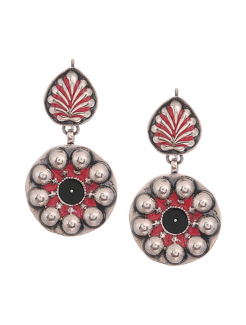b9a80ade2f0 Buy Red-Black Enameled Silver Earrings Online at Jaypore.com
