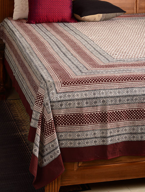 Floral Cotton Double Bed Cover 106in x 90in