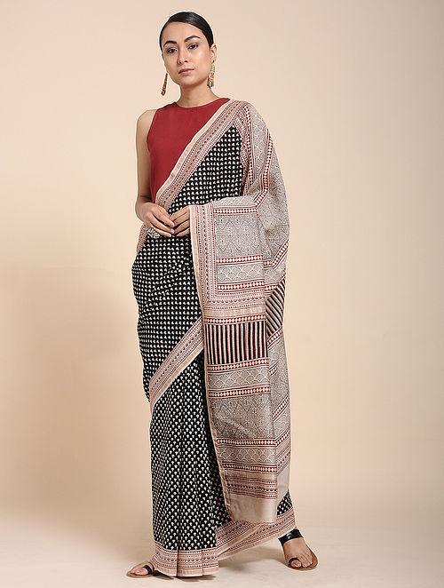 069b03cccc Buy Black-Ivory Bagh-printed Cotton Silk Saree Online at Jaypore.com