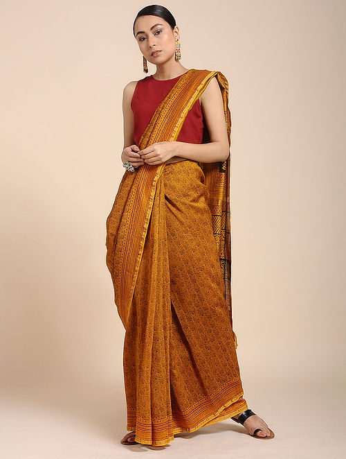 21a0f070325f5 Buy Yellow-Red Bagh-printed Cotton Silk Saree with Zari Online at ...
