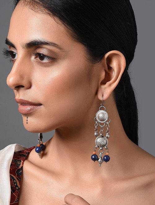 Orange Blue Vintage Afghan Silver Earrings