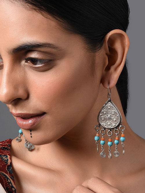 Orange Turquoise Vintage Afghan Silver Earrings