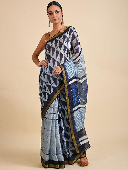 Blue Shibori Dyed Kota Silk Saree
