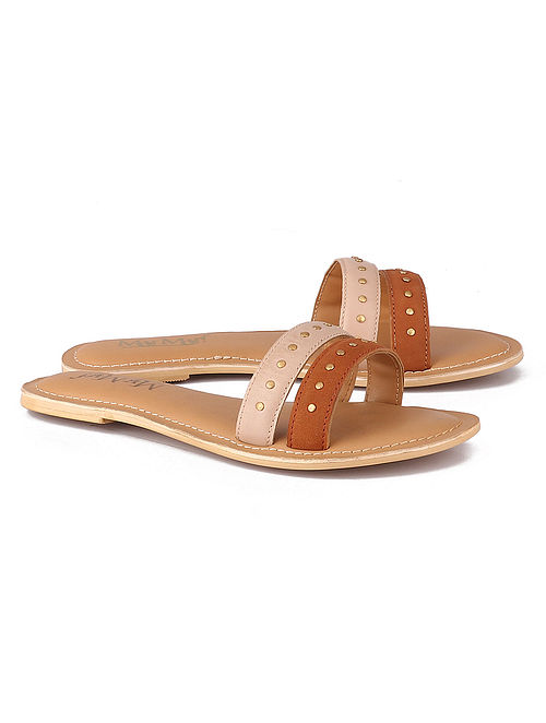 Pink Tan Hancrafted Leather Flats