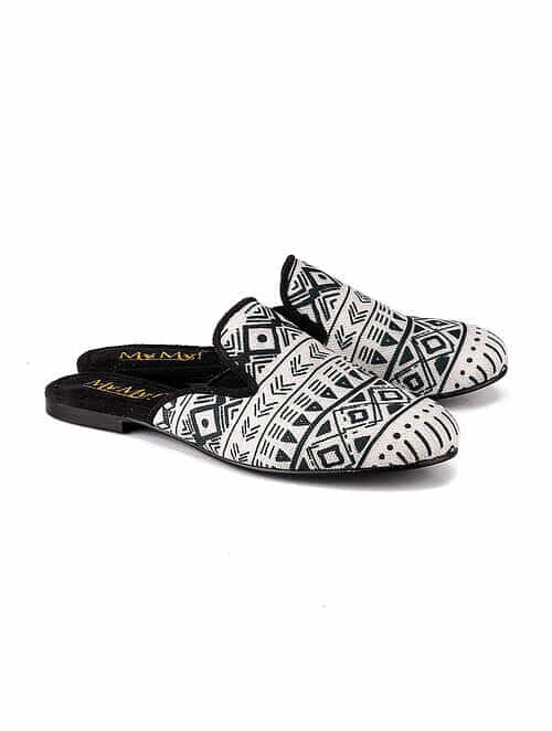 Black Stripe Handcrafted Leather Mules