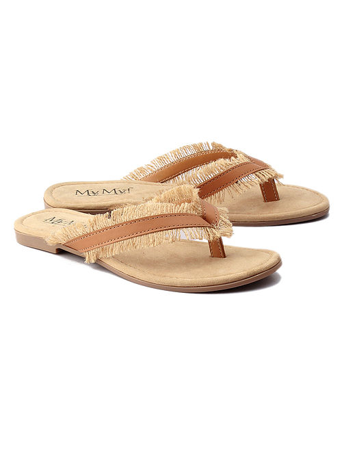 Tan Handcrafted Leather Feathery Flats