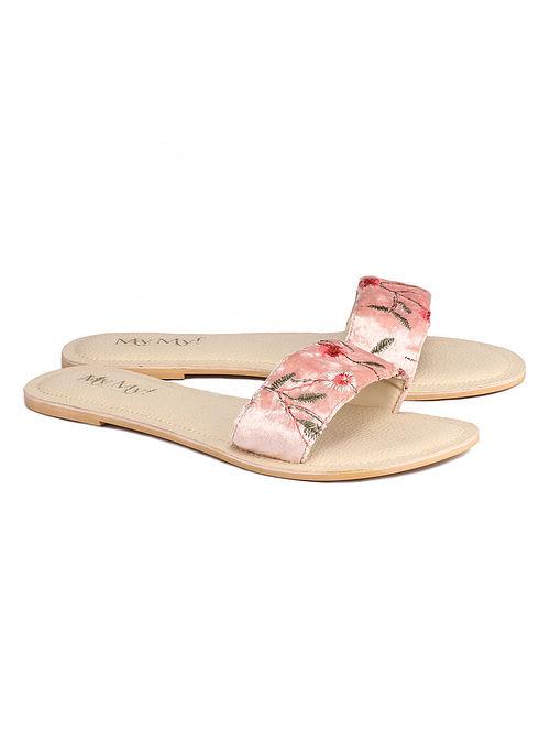 Pink Handcrafted Velvet Flats