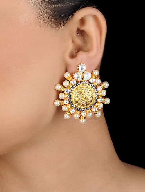 7b8ddb0e0 Buy White Gold Tone Kundan Inspired Stud Earrings Online at ...