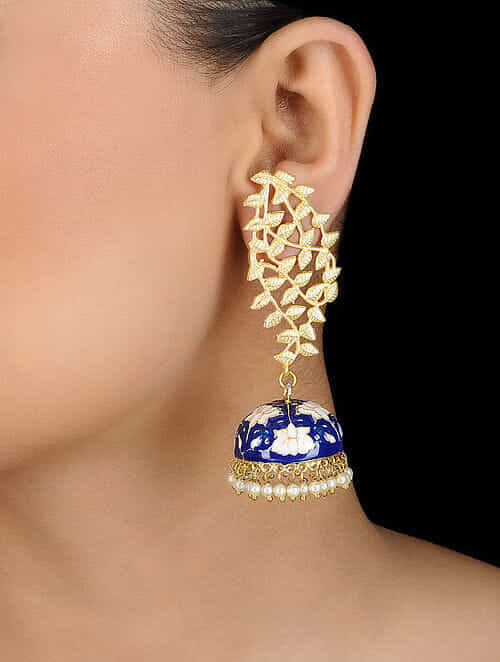 5def0d995 Buy Blue Gold Tone Meenakari Earrings Online at Jaypore.com