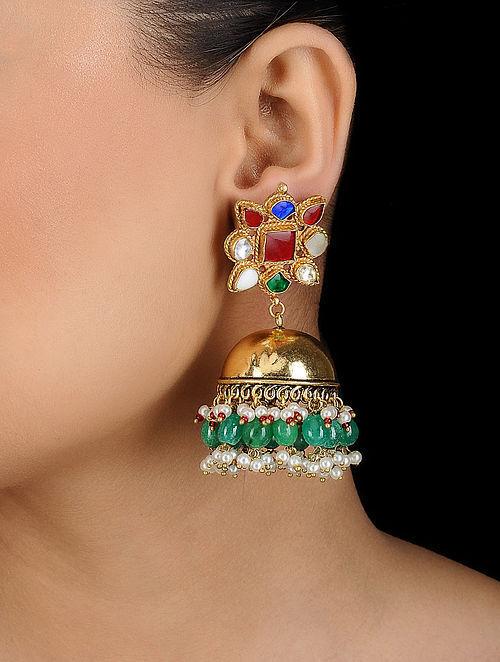 e9f885523 Buy Multicolored Gold Plated Navrattan Jhumka Online at Jaypore.com