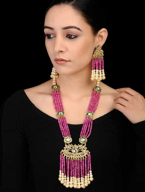 c5fecb76bacf1 Buy Pink Gold Tone Kundan Inspired Onyx Beaded Necklace with earrings (Set  of 2) Online at Jaypore.com
