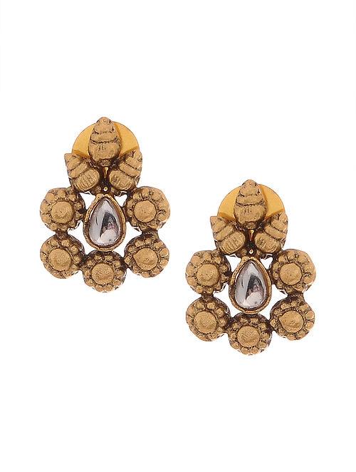 6775692e7d Buy Gold Tone Oxidised Kundan Inspired Stud Earrings Online at ...