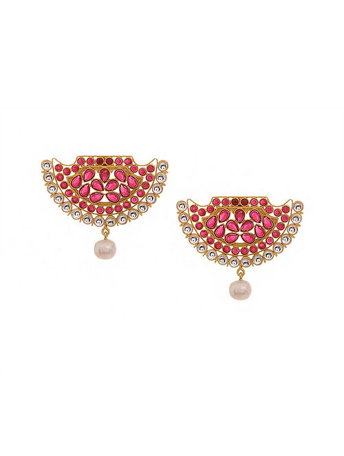 13cc54db20 Buy Red Gold Tone Oxidised Earrings Online at Jaypore.com