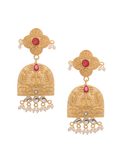 89be381cdd Buy Red Gold Tone Oxidised Antique Earrings Online at Jaypore.com