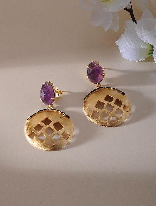 Purple Gold Plated Amethyst Brass Earrings