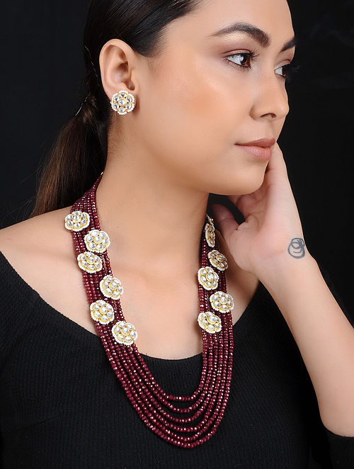Red Onyx and Pearl Gold Tone Brass Necklace with Earrings (Set of 2)