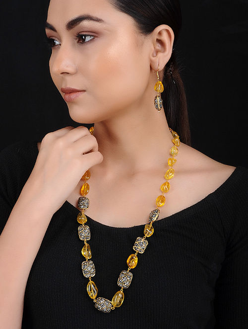 Yellow Flourite and Marcasite Gold Tone Necklace with Earrings (Set of 2)