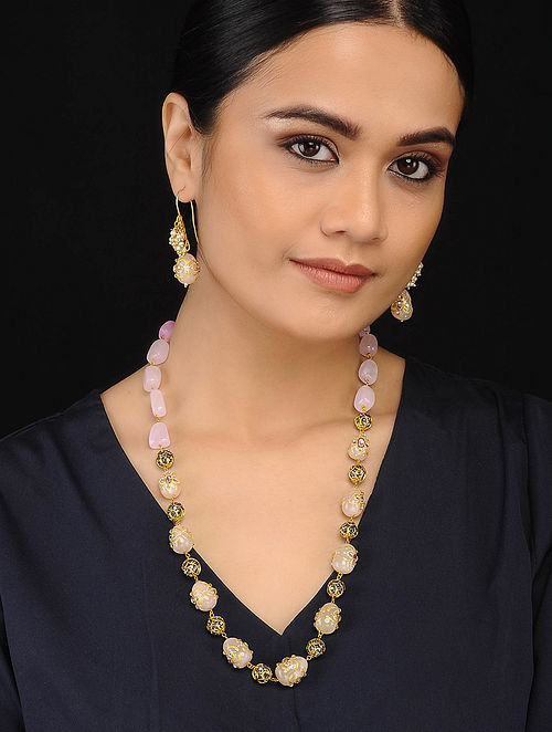 Pink Gold Tone Necklace with Marcasite with Earrings (Set of 2)