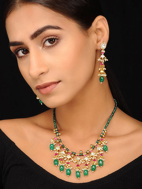 Green Pink Gold Tone Pearl Beaded Kundan Necklace with Earrings (Set of 2)
