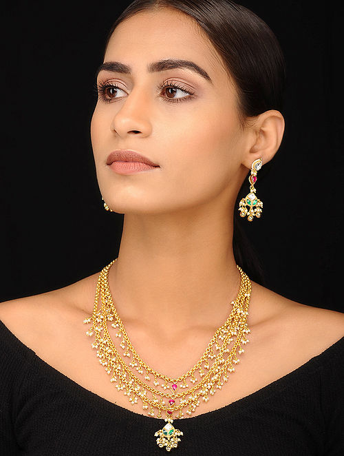 Pink Green Gold Tone Pearl Beaded Kundan Necklace with Earrings (Set of 2)