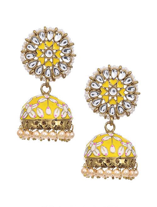 Yellow Gold Tone Kundan Enameled Earrings