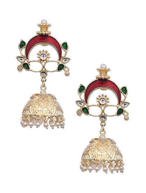 Red Green Gold Tone Kundan Enameled Earrings