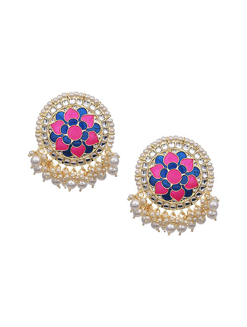 Blue Pink Gold Tone Enameled Earrings with Pearls