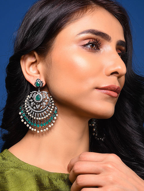 Green Silver Tone Earrings with Pearls